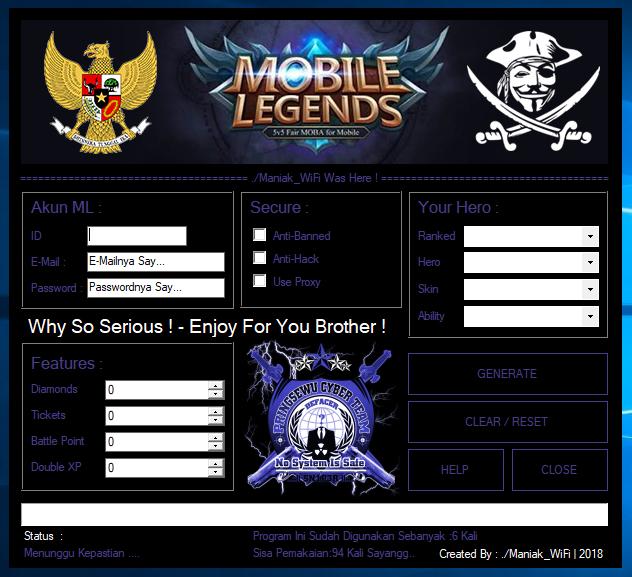 Cara Cheat Akun Mobile Legends Work 2018
