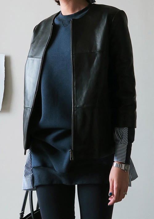 Seam Accented Leather Jacket