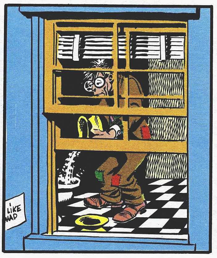 a 1950s Wallace Wood color cartoon panel for MAD