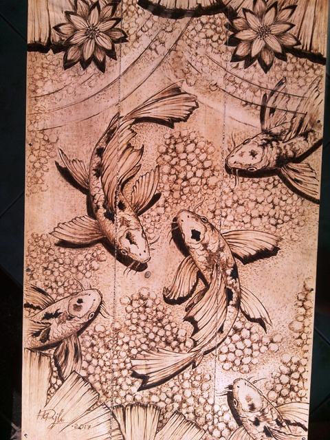 Ikan Koi Dan Bunga Teratai Java Sketsa