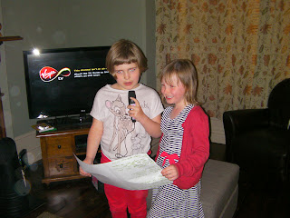 karaoke performing in front room