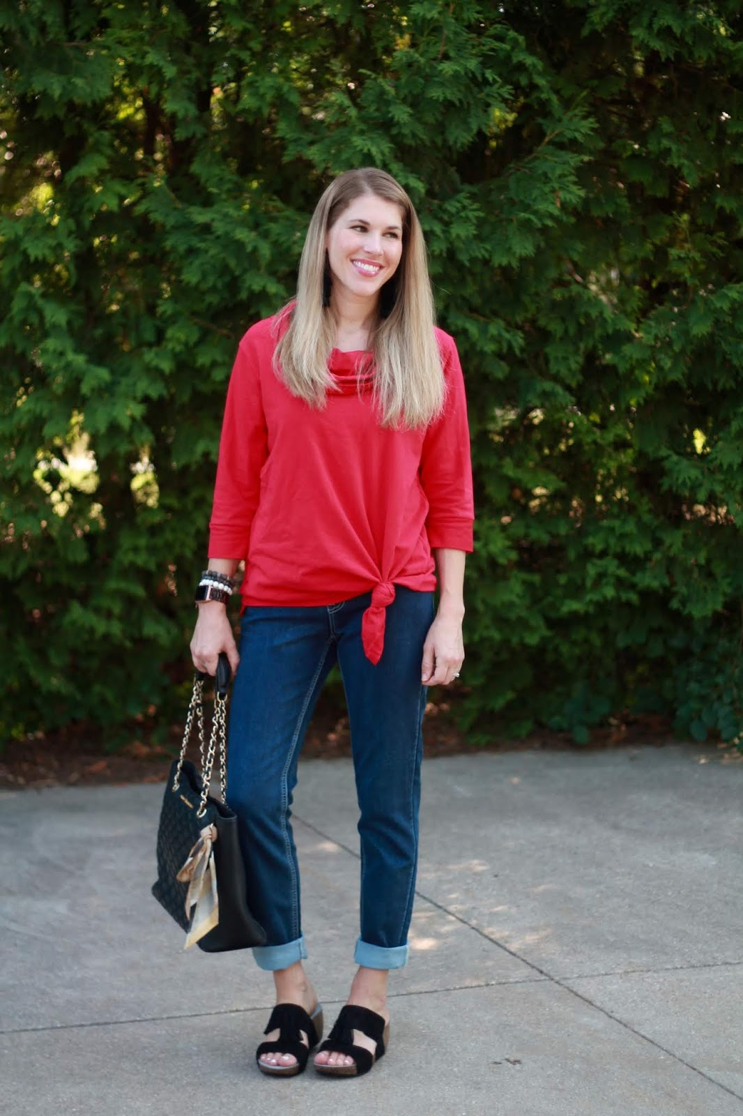 Ethyl red tunic, Ethyl french terry jeans, ABEO black wedges, quilted black leather tote