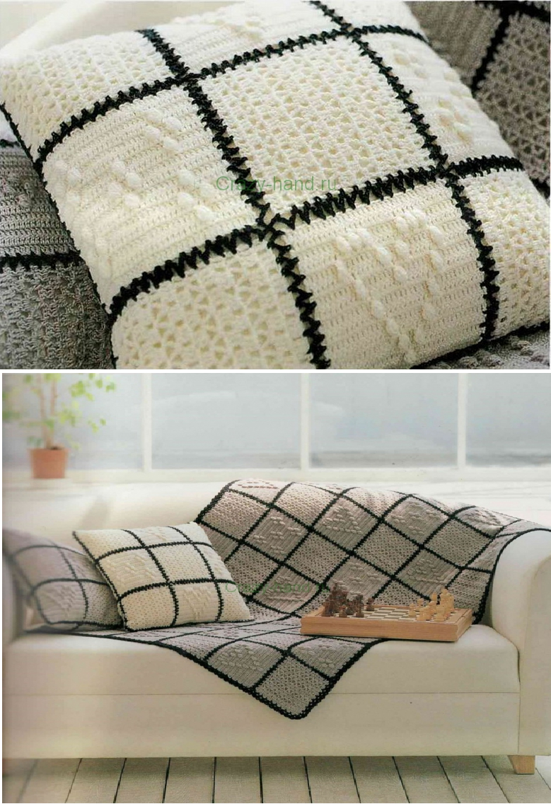 Patron Crochet Cojin Cuadrados