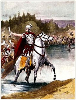 Julius Caesar leading his troops across the Rubicon River in Italy, painting by Jacob Abbott