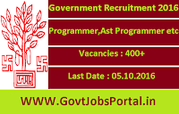 Government Recruitment 2016 for 400+ Programmer, Assistant Programmer etc Apply Online Here