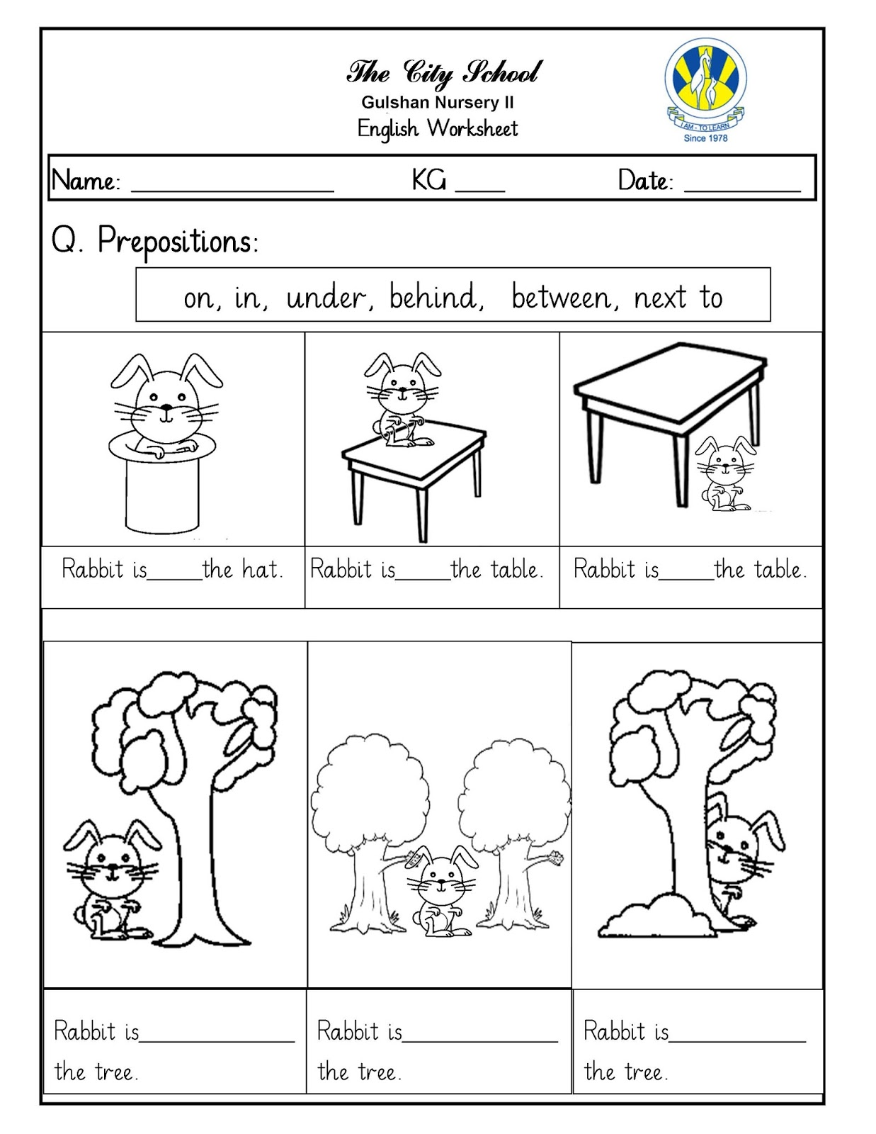 Grade 3 Worksheets Prepositions On On In In Worksheet