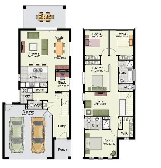 Double Storey Garage With Glass Doors: Duplex Small House Floor Plans With 3 Or 4 Bedrooms
