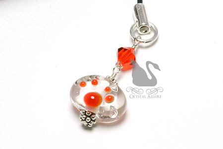 Orange Crystal Lampwork Paw Print Bead Zipper Pull Charm (CPC004)