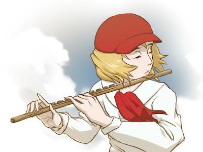 Cedie playing flute