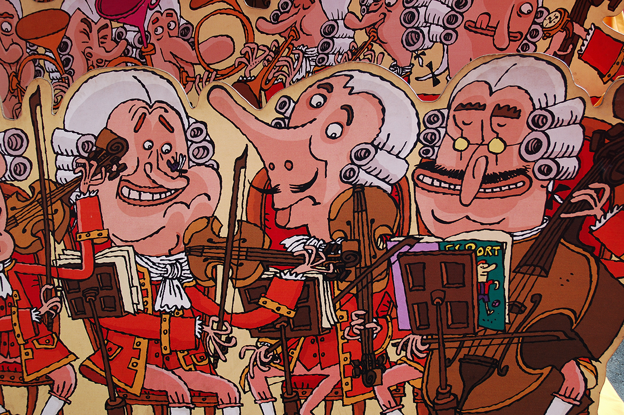 Funny Classical Musicians Drawings on Tibidabo Billboard