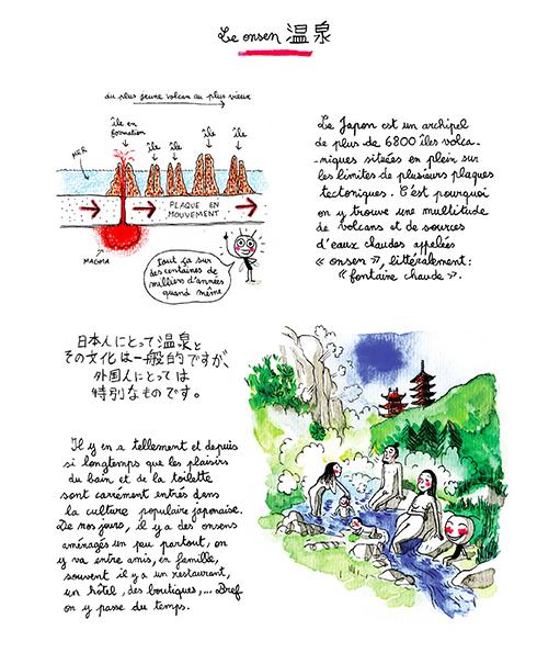 J'aime le nattô, le onsen (planche 1/3), illustration par Julie Blanchin