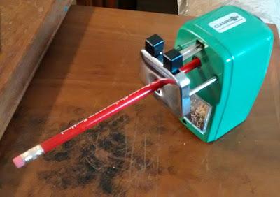 Pencil inserted into 'Classroom Friendly' manual pencil sharpener