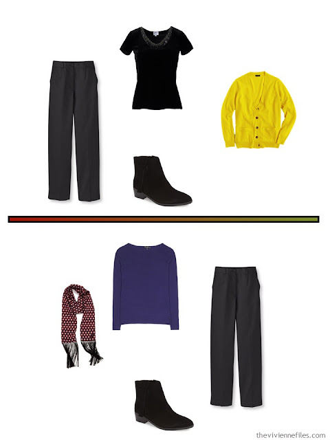 2 outfits for cool weather, including black cordoroy pants