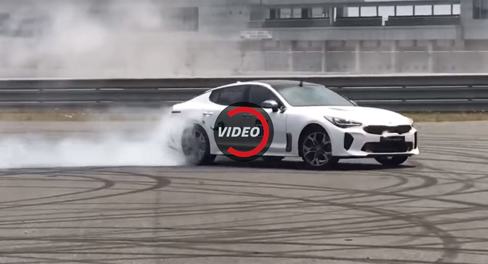 kia stinger filmed drifting its twin turbo v6 heart out. Black Bedroom Furniture Sets. Home Design Ideas