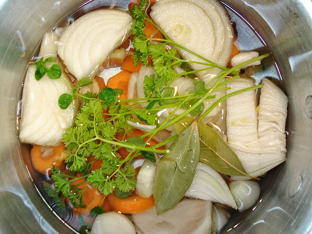 Vegetable stock in a pan ready to cook