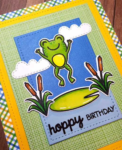 Sunny Studio Stamps: Froggy Friends Hoppy Birthday Frog Card by Lindsey Sams