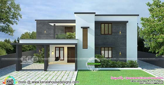 Simple flat roof style modern home 1650 sq-ft