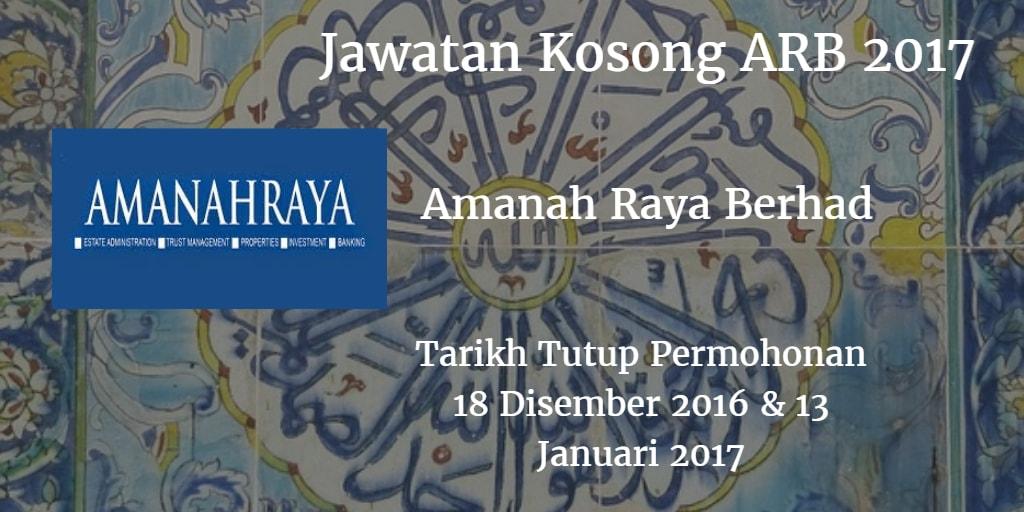 Jawatan Kosong ARB 18 Disember 2016 & 13 Januari 2017