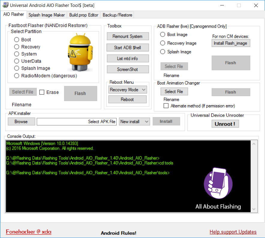 AIO]Universal Android Flasher v1 40 Latest - All About Flashing