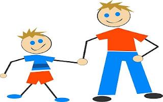 Figlio e papà mano nella mano