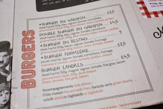 Menu Bistro des Galopins restaurant