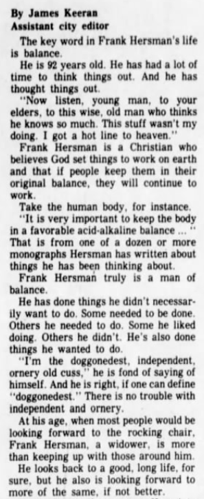 Frank Hersman Normal Illinois 1978 newspaper article