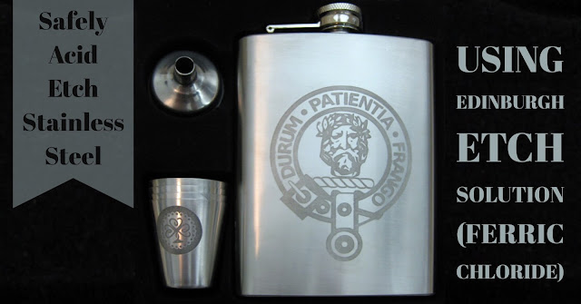 Stainless Steel Hipflask Etched with Edinburgh Etch Solution (Ferric Chloride) using Vinyl Resists Cut with Silhouette Cameo.  Tutorial by Nadine Muir for Silhouette UK Blog