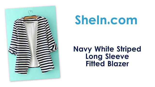 SheIn: Navy White Striped Long Sleeve Fitted Blazer