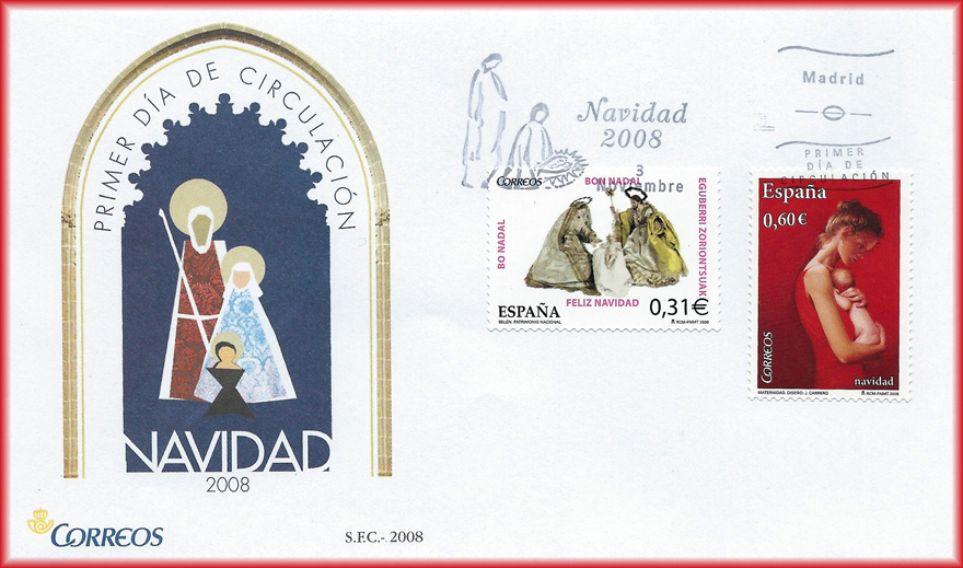 Sobre con sello de Navidad 2008 con la Maternidad I de JCarrero