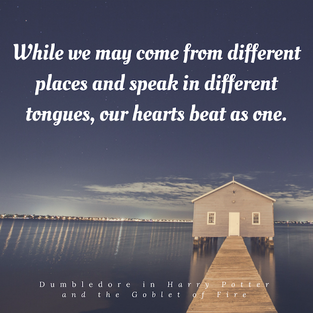 While we may come from different places and speak in different tongues, our hearts beat as one. Dumbledore.