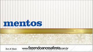 Etiquetas de Mentos  de Dorado y Gris para imprimir gratis.