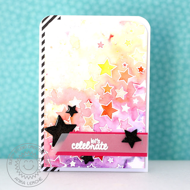Sunny Studio Stamps:  Stars & Stripes Let's Celebrate Watercolor Star card by Anni.