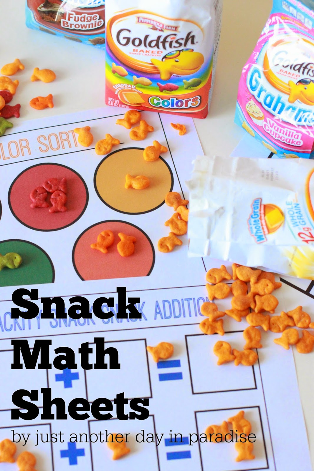 Larissa Another Day Goldfish Snack Math Sheets