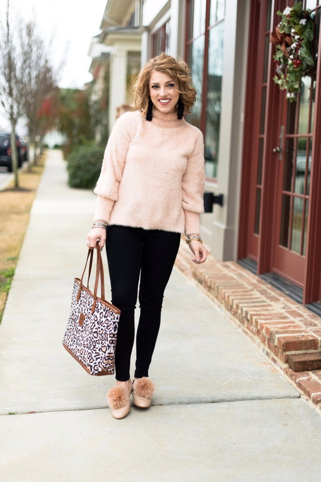 Black, Pink and Leopard Winter Look - SOMETHING DELIGHTFUL BLOG