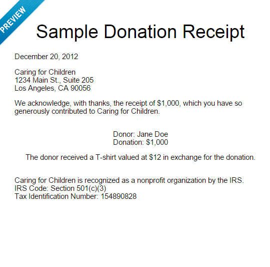how to create a donation receipt