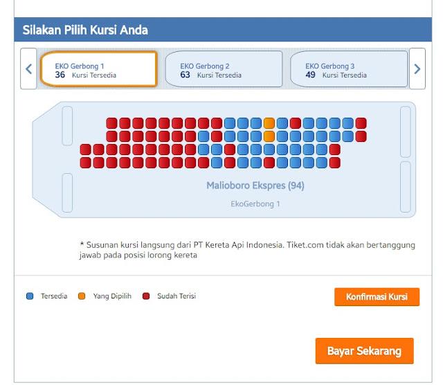 Kini Booking Tiket Kereta Api Online Bisa Pilih Kursi Sesuka Hati