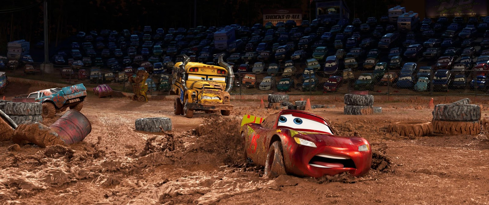 Storyboard to final frame a look at the progression of a 39 cars 3 39 demolition derby scene - Coloriage cars 3 thunder hollow ...
