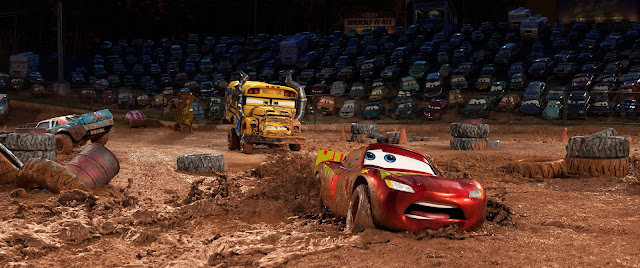 Cars 3 Miss Fritter bearing down on Lightning McQueen with Lightning test