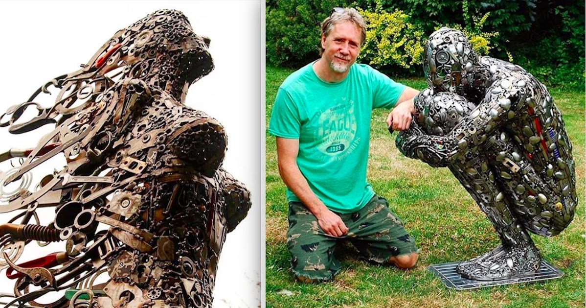 Upcycling Art Artist Uses Metal Objects To Assemble Extraordinary Sculptures