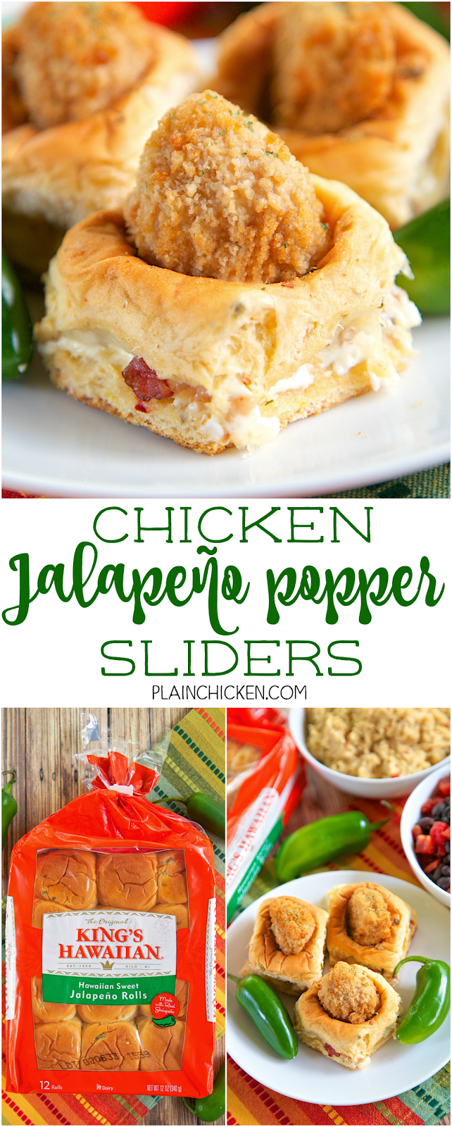 Chicken Jalapeno Popper Sliders - SO fun! Only 5 ingredients! King's Hawaiian Jalapeño Rolls stuffed with cream cheese, bacon, monterey jack cheese and frozen chicken chunks. These sandwiches are CRAZY good! I couldn't stop eating them! Great for a party or easy lunch or dinner.