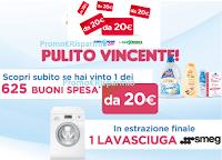 Logo ''Pulito vincente'' : vinci 625 buoni spesa da 20€ e 1 lavasciuga Smeg