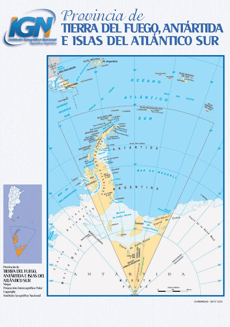 Mapa da província Tierra del Fuego - Argentina
