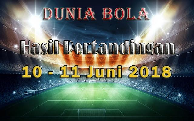 Hasil Pertandingan Sepak Bola Tanggal 10  - 11 Juni 2018