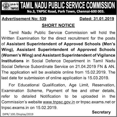 TNPSC Assistant Superintendent Posts Recruitment 2019