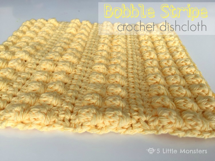 5 Little Monsters Bobble Stripe Crochet Dishcloth