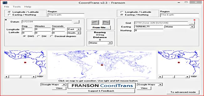 برنامج CoordTrans يمكنك من تحويل الإحداثيات من الجغرافية (LAT,LONG) إلى الديكارتية (X,Y,Z) والعكس