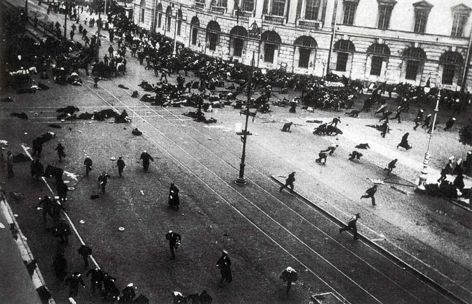 Street demonstration on Nevsky Prospekt just after troops of the Provisional Government have opened fire with machine guns. July 17, 1917.