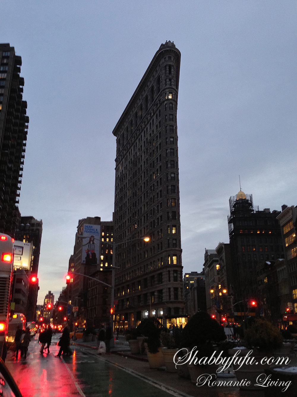 flat iron building dusk