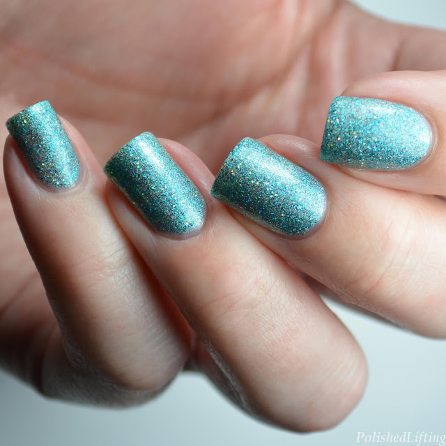 teal holo nail polish swatch