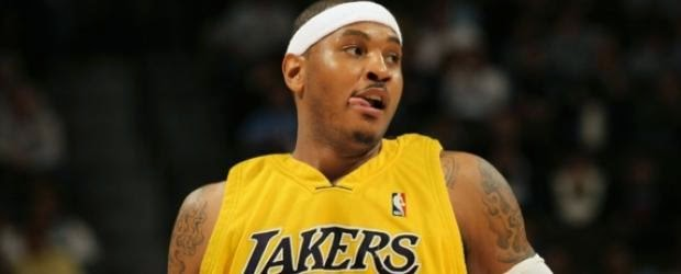 carmelo anthony wearing lakers jersey